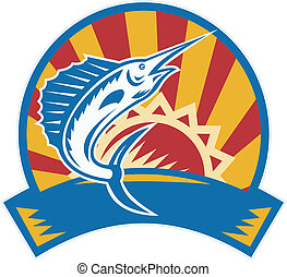 Sailfish Jumping Sunburst Woodcut Retro