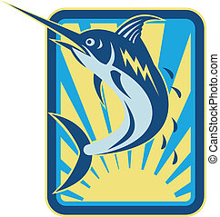 Blue Marlin Fish Jumping Retro - Illustration of a blue...