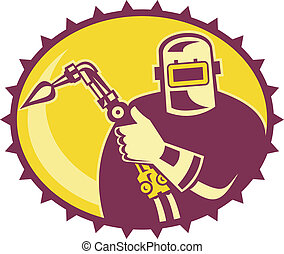 Welder Worker Welding Torch Retro - Illustration of a welder...