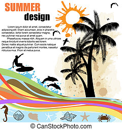 Summer design background - Grunge summer design background...
