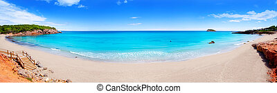Cala Nova beach in Ibiza island panoramic with turquoise...