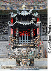 Bronze tripod in temple - Bronze tripod in chinese temple in...
