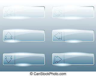 Rectangular transparent buttons - Six transparent, shiny...