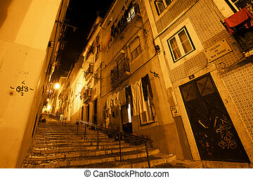 At night in the Alfama - Staircases at night in the Alfama...