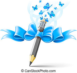 Pencil decorated by bow on white background. EPS10 vector...