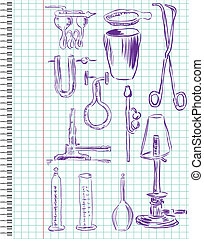 A set of chemical equipment in a school notebook in the box...