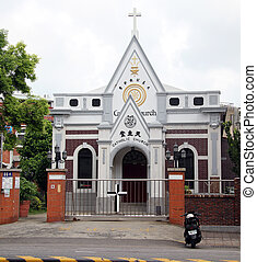 White chuirch - White catholick church on the street of...