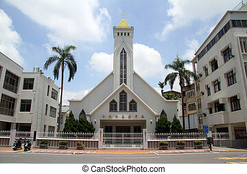New white church - New white chirch on the street of Tainan,...