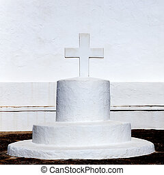 Ibiza white church in sant Joan de Labritja at Balearic...