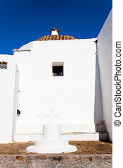 Ibiza white church in sant Joan de Labritja at Balearic...