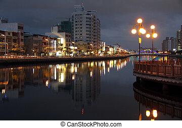 Tainan canal and embankment at night, Taiwan