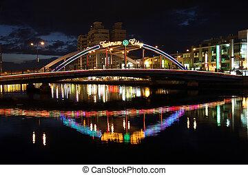 Bridge and canal - Bridge and Tainan canal at night, Taiwan