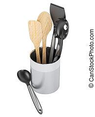 Kitchenware set - Kitchen utensil set isolated on white...