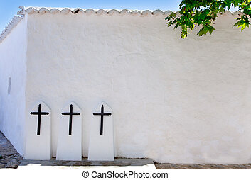 Ibiza Santa Agnes de Corona Ines white church crosses in...