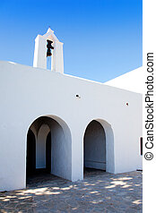 Ibiza Santa Agnes de Corona Ines white church in Balearic...