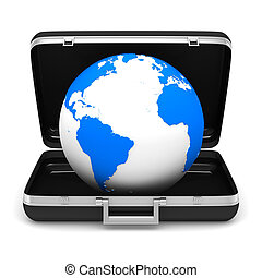 Case and globe on white background. isolated  3D image
