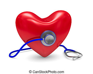 Stethoscope and heart on white background Isolated 3D image