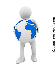 man and globe on white background Isolated 3D image