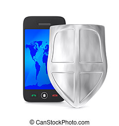 phone and shield on white background. Isolated 3D image