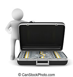 Open suitcase with dollars on white background. Isolated 3D...