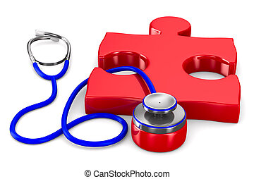 Stethoscope and puzzle on white background Isolated 3D image...