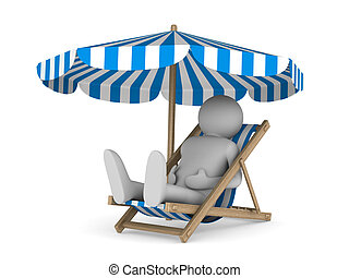 Deckchair and parasol on white background Isolated 3D image
