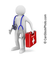 docteur, Stéthoscope, blanc, fond, isolé, 3D,...