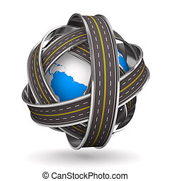 Roads round globe on white background. Isolated 3D image