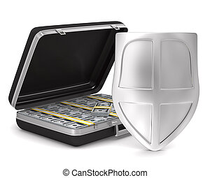Case with money on white background isolated 3D image