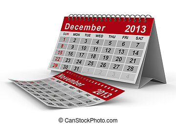 2013 year calendar December Isolated 3D image