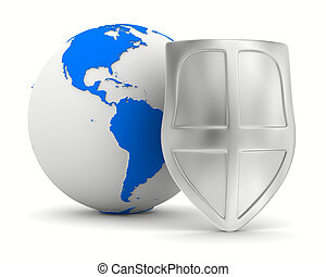 globe and shield on white background isolated 3D image