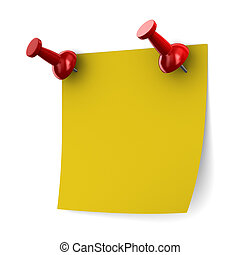 Red thumbtack on white background. Isolated 3D image