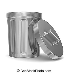 Garbage basket on white background Isolated 3D image