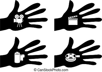 handy film - collection of silhouette hands holding film...