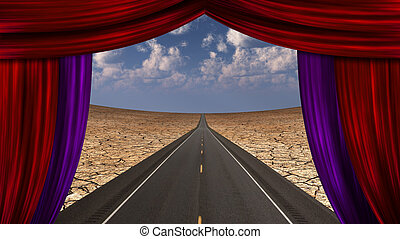 Curtain opens onto roadway