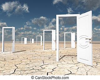 Many open doors in desert
