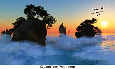 Sunset or sunrise with rocky islands