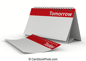 Calendar for tomorrow on white background Isolated 3D image