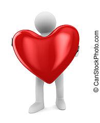 uomo, cuore, bianco, fondo, isolato, 3D, immagine