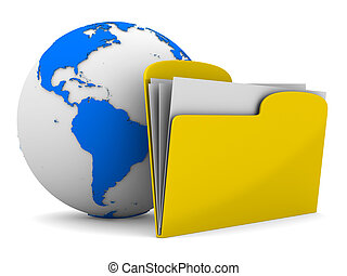 Yellow computer folder and globe on white background....