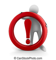 Attention traffic sign on white background Isolated 3D image...