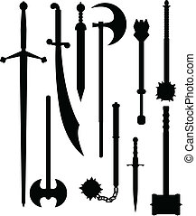 Weapons of antiquity silhouettes - Set of ancient and...