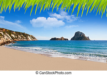 Es vedra island of Ibiza view from Cala d Hort in Balearic...