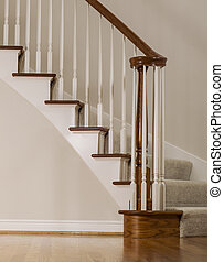 Oak wood and carpet staircase - Wooden oak staircase with...