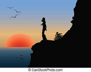 Vector romantic sunset - Vector silhouette of the girl on...