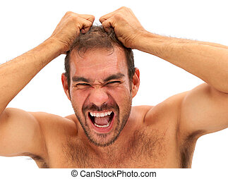 man pulling his hair and yelling on white background - man...