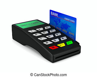 payment terminal on white background Isolated 3d image
