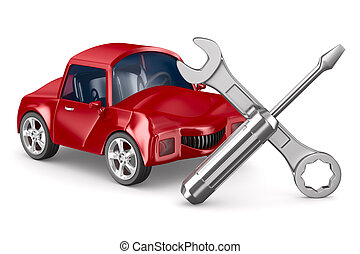 Car-care centre on white background Isolated 3D image