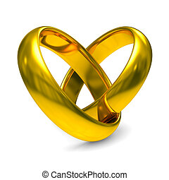 Two gold wedding rings Isolated 3D image