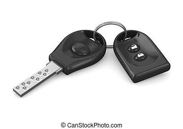 Automobile key and alarm system on white background....